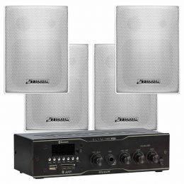 Kit Amplificador 40W / Receiver Slim 1000 APP + 4 Caixas Passivas PS 200 Plus c/ Suporte Kit Sonorização PS - Frahm