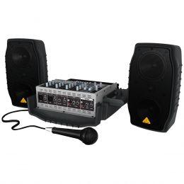 Kit PA Portátil c/ Mesa, 2 Caixas, Microfone e Cabo Europort EPA150 110V - Behringer