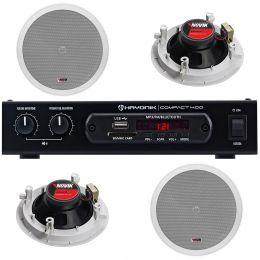 Kit p/ Som Ambiente c/ 1 Amplificador e 4 Arandelas - VR