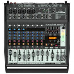 Mesa de Som 12 Canais Balanceados (6 XLR + 6 P10) c/ 500W / USB MIC / Efeito / Phantom / 2 Auxiliares - Europower PMP 500 Behringer 110V