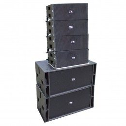SISTEMA LINE ARRAY 5200W 4 caixas c/2 Falantes 10 polegadas e 2 Driver Neodimio + 2 Subwoofer 2 Falantes 18 polegadas - PZ 210