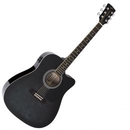 Violão Folk Cutaway Elétrico VCK370 Black Maple Flamed - Vogga