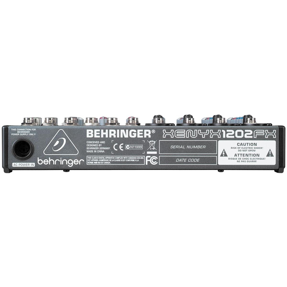 Mesa de Som 12 Canais Balanceados (4 XLR + 8 P10) c/ Efeito / Phantom / 1 Auxiliar - Xenyx 1202 FX Behringer