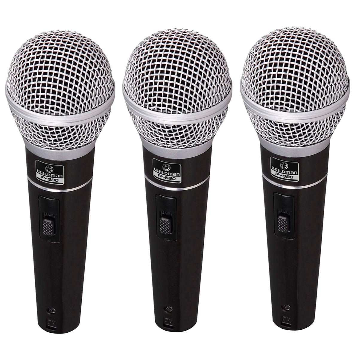 P5803PC - Kit 3 Microfones c/ Fio de Mão P 580 3PC - Waldman