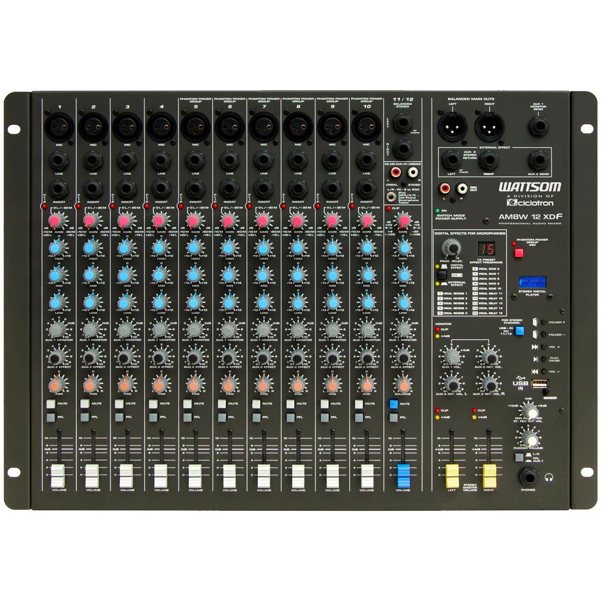 Mesa de Som 12 Canais Balanceados (10 XLR + 2 P10) c/ USB Play / Efeito / Phantom / 2 Auxiliares - AMBW 12 XDF Ciclotron