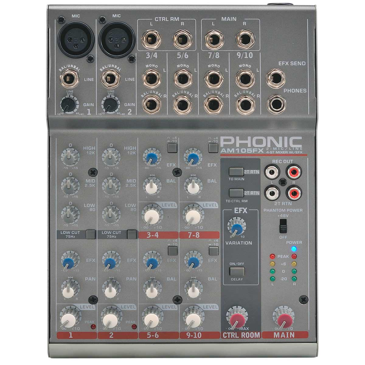 Mesa de Som 10 Canais Balanceados (2 XLR + 8 P10) c/ Efeito / Phantom / 1 Auxiliar - AM 105 FX Phonic