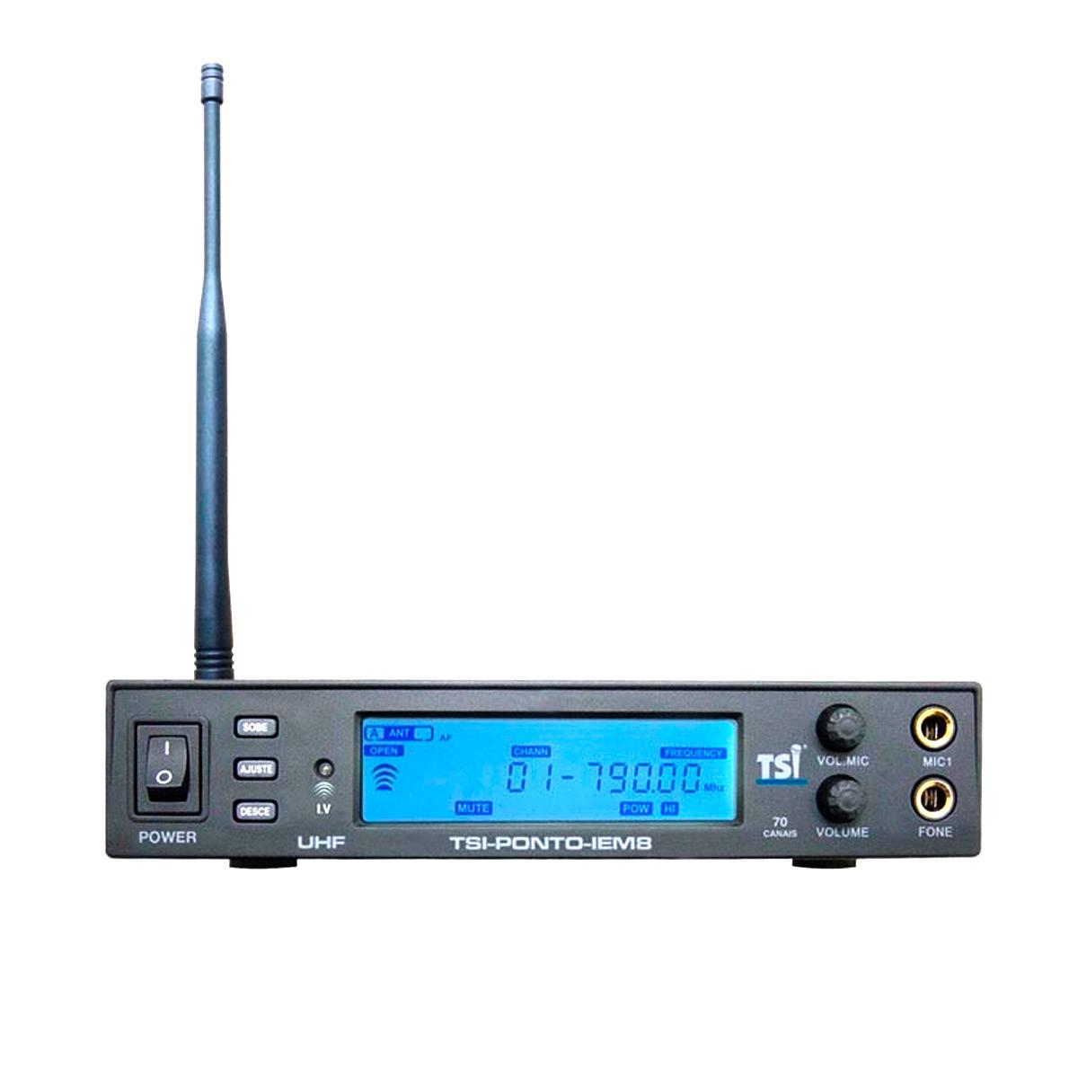 Ponto Eletrônico s/ Fio UHF c/ Fone de Ouvido In-ear - PONTO IEM 8 TSI
