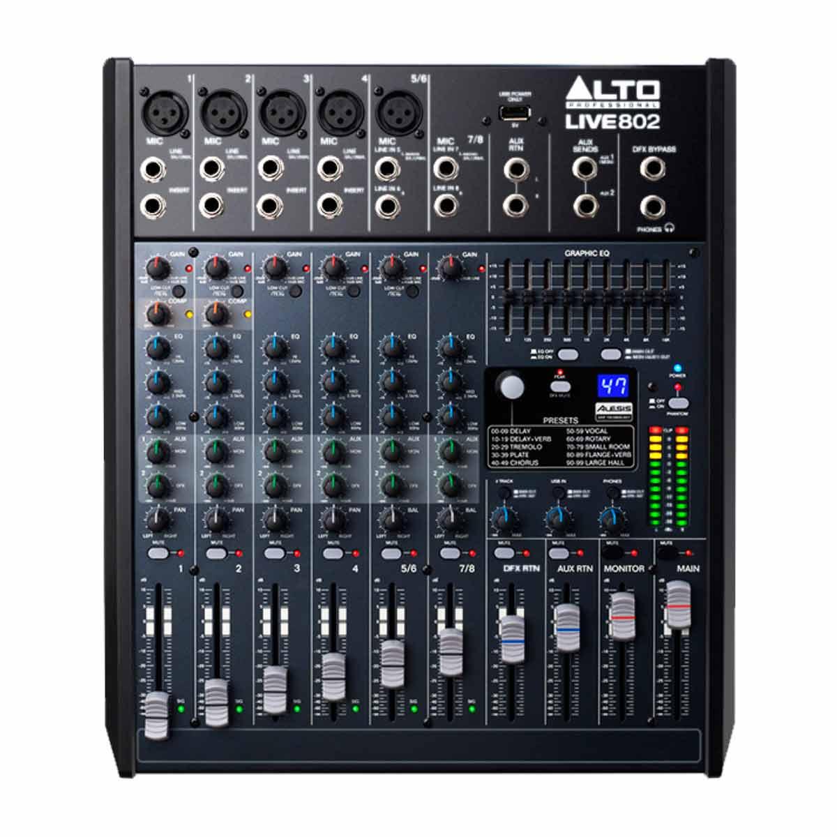 Mesa de Som 8 Canais Balanceados (5 XLR + 3 P10) c/ USB / Efeito / 2 Auxiliares - Live 802 Alto