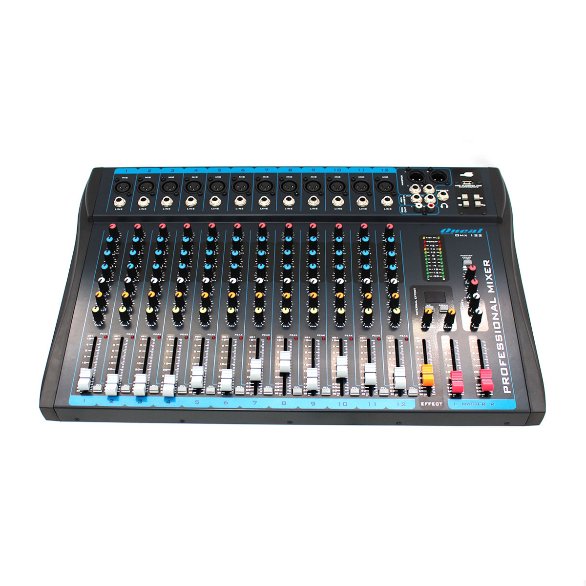 Mesa de Som 12 Canais XLR Balanceados c/ USB / Efeito / 1 Auxiliar - OMX 122 Oneal