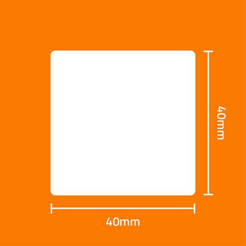 Etiqueta Adesiva BOPP Fosco Branca 40 x 40 x 02 (Grande Porte) - ID Etiquetas