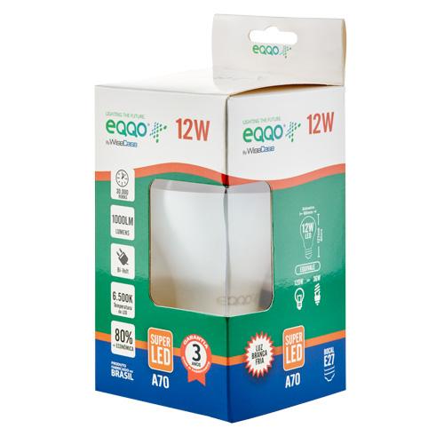 Lâmpada Super LED 12W Bulbo E27 Bi-Volt EQQO Branca (1000 Lumens)