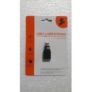 Adaptador OTG Tipo C 3.1 para USB A Fêmea 5+ (003-0140)