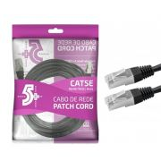 Cabo de Rede Patch Cord Cat5e FTP 10M Bindado 5+ (Preto)