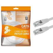 Cabo de Rede Patch Cord Cat6 FTP 2M Blindado 5+ (Branco)