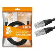 Cabo de Rede Patch Cord Cat6 FTP 5M Blindado 5+ (Preto)