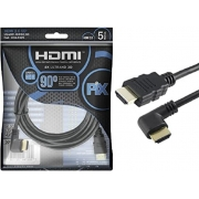 Cabo Hdmi 2.0 Plug 90 Graus - 4K HDR 3D 19P 5.0M PIX