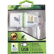 Carregador De Celular X-Cell XC-V8-GLX 2.8a + saida USB - Anatel