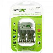 Carregador Pilhas Recarregavel Aa/Aaa/Bat 9v Fx-c03 Flex - inmetro
