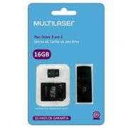 Cartão De Memória Micro Sd 16gb C/adap Classe 10 MC112 Multilaser (kit 3x1)