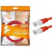 Cabo de Rede Patch Cord Cat6 FTP 2M Blindado 5+ (Vermelho)