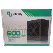 Fonte Atx 600w Real Infinity 24P Fan 12cm + Cabo (Caixa Individual)