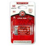 Kit 3 Bateria Recarregavel 9v 450Mah Mox - Original (Blister)