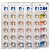 Kit 5 Cartelas Bateria Alcalina Lr44 Elgin (Cartelas c/10)