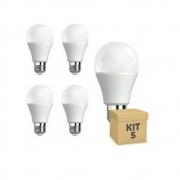 Kit 5 Lâmpadas LED 10w Bulbo E27 Bi-Volt TDA Branca (850 Lumens)