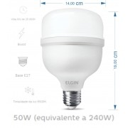 Lâmpada Super Led 50w 6500k Bulbo T E27 BiVolt 4000LM Elgin
