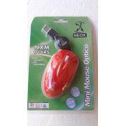 Mouse Optico USB mIni Neox Nxm016rs Cabo Retrátil (Vermelho)