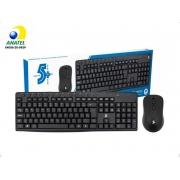 Teclado e Mouse Sem Fio 2.4Ghz Office 5+ (Preto)