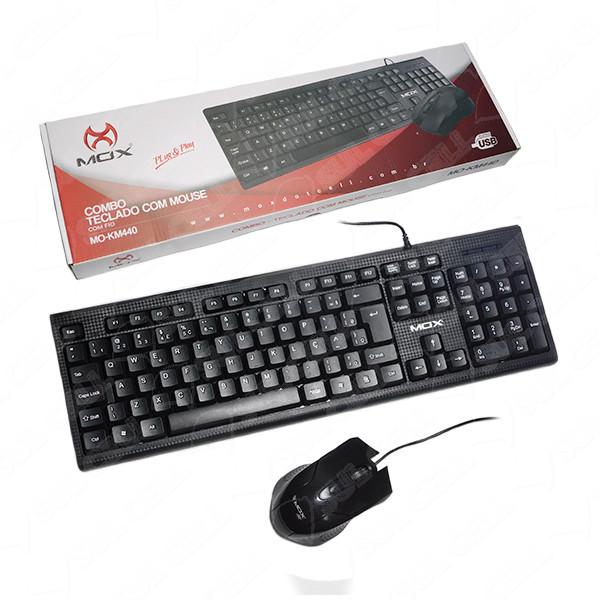 5 Kit Teclado Usb abnt2 + Mouse Usb Office MO-KM440 MOX (Preto)