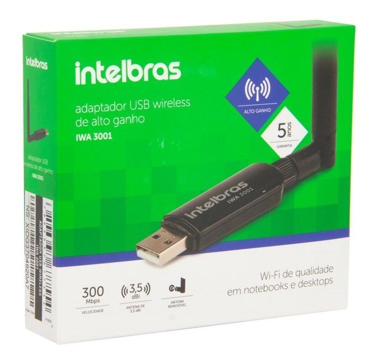 Adaptador Usb 300Mbps Intelbras Iwa 3001 (Antena Externa)