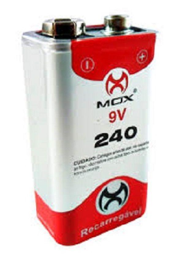 Bateria Recarregavel 9v 240Mah Mox - Original (Blister)