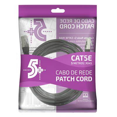 Cabo de Rede Patch Cord Cat5e FTP 5M Bindado 5+ (Preto)