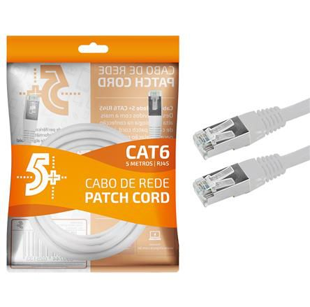 Cabo de Rede Patch Cord Cat6 FTP 5M Blindado 5+ (Branco)