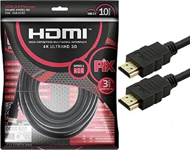 Cabo Hdmi Gold 2.0 - 4K HDR 3D 19P 10M PIX