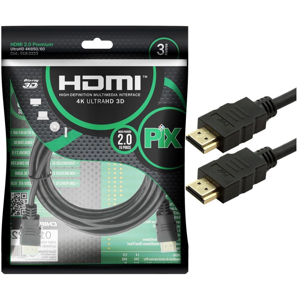 Cabo Hdmi Gold 2.0 - 4K HDR 3D 19P 3.0M PIX