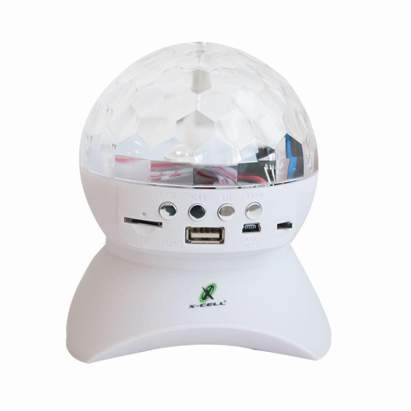 Caixa De Som Bluetooth / Led/ Bola Giratoria XC-XL-12 X-Cell (Branco)