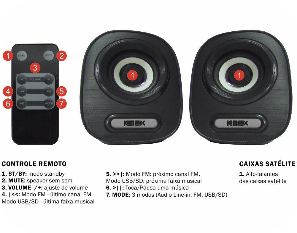 Caixa de Som Subwoofer 2.1 SS-A300 K-Mex - BassReflex C/FM, Ent. USB e Cartão SD (Preto)