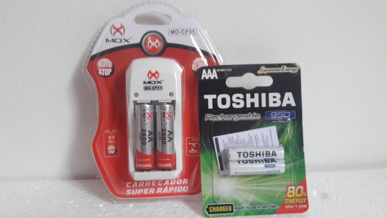 Carregador De Pilha MO-CP31 C/2 Pilhas AA 2600Mah + Pilha Recarregavel AAA 950Mah C/2 Toshiba