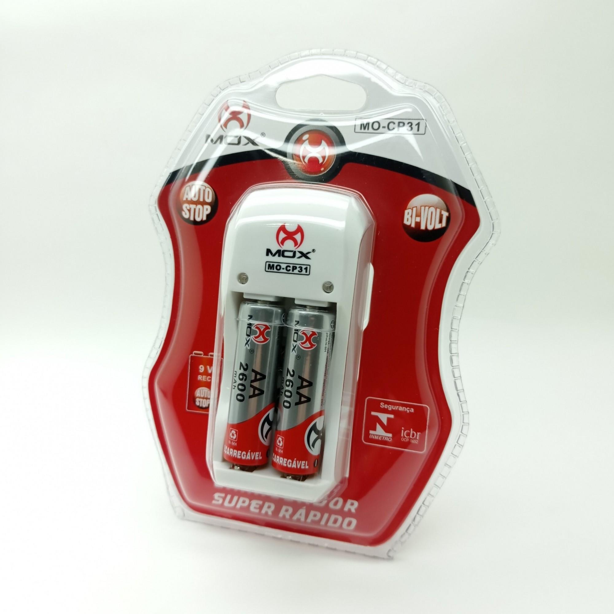 Carregador De Pilhas Aa Aaa 9v Mox Bi-volt Auto Stop MO-CP31 C/2 Pilhas AA 2600Mah
