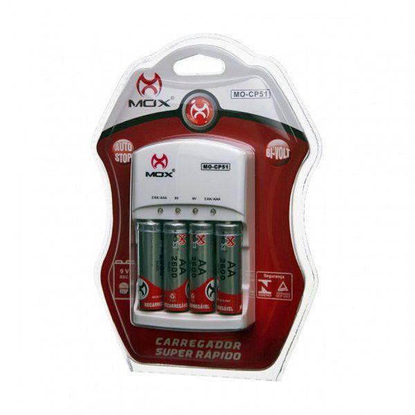 Carregador De Pilhas Aa Aaa 9v Mox Bi-volt Auto Stop MO-CP51 C/4 Pilhas AA 2600Mah