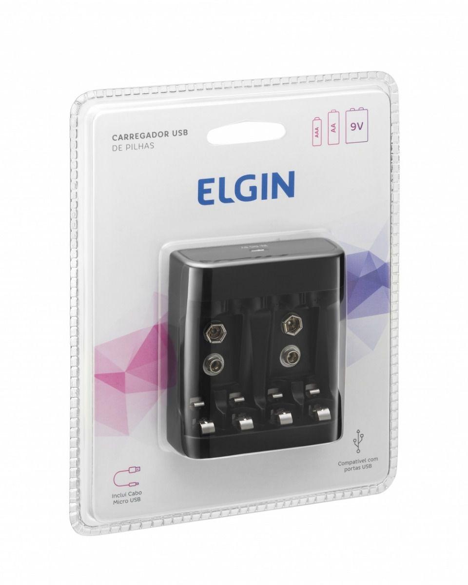 Carregador De Pilhas Aa Aaa 9v USB Elgin Preto (até 4 Pilhas)