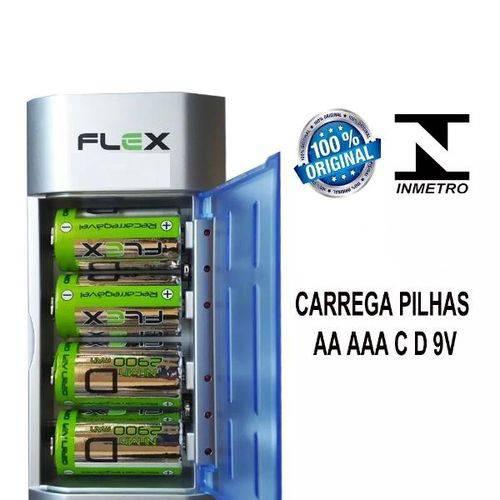 Carregador Pilhas Recarregavel Aa/Aaa/C/D/9v Fx-c06 Flex - inmetro
