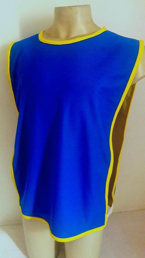 Colete Futebol Dupla Face 47x 67cm Azul/Amarelo Jogo e Treino.