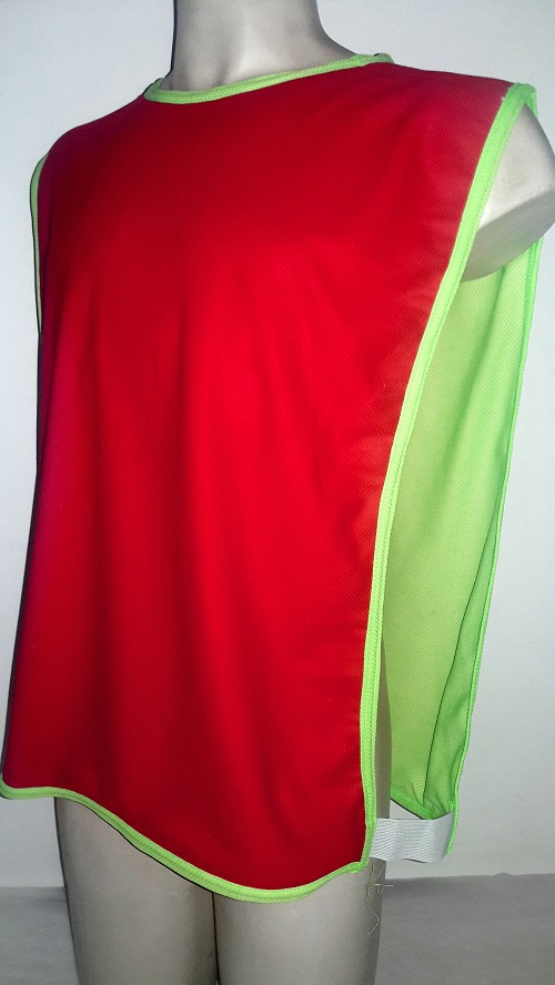 Colete Futebol Dupla Face 47x 67cm Vermelho/Verde Limão Jogo e Treino.