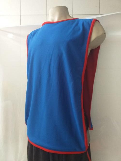 Colete Futebol Dupla Face 47x 67cm Vermelho/Azul Jogo e Treino.