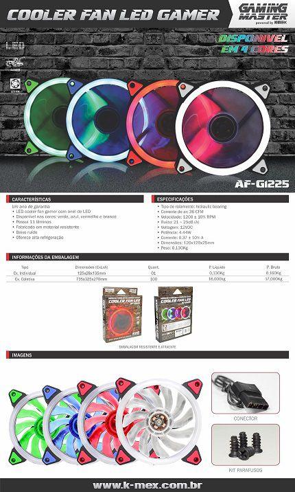 Cooler Pc Gamer AF-G1225 K-Mex C/Anel de Led, 11 laminas (Azul)