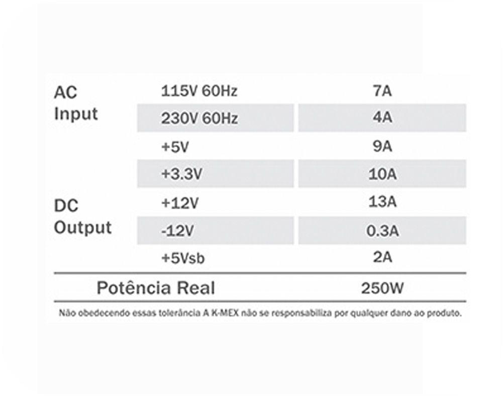 Fonte Mini itx K-MEX PP-250ROF Sfx 250w Real Slim Bivolt.